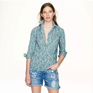 J. Crew Leaves and Berries Popover Shirt